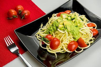 Spaghetti cu avocado si rosii cherry – raw