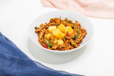 Mâncare de ciuperci cu tofu şi mămăliguţă– vegan (6)_opt